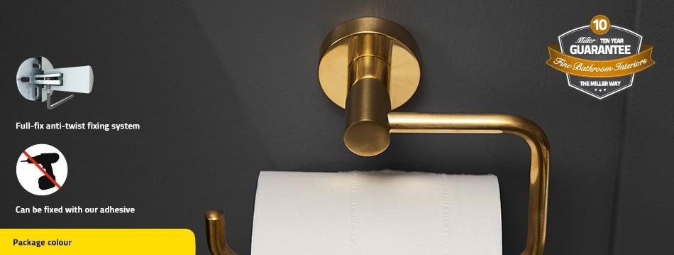 Miller Bond Brushed Brass Toilet Roll Holder